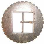 40mm Oval Cogged 'Old Silver' Belt Buckle (BUC126)